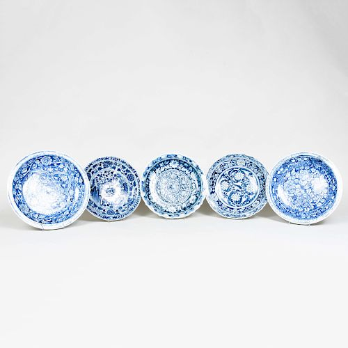Five Asian Porcelain Blue and White Dishes