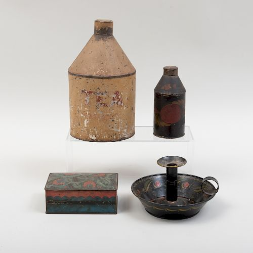 Group of Four Painted Tin Articles