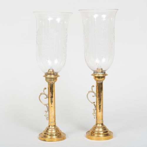 Pair of Brass Candlesticks with Etched Hurricane Shades