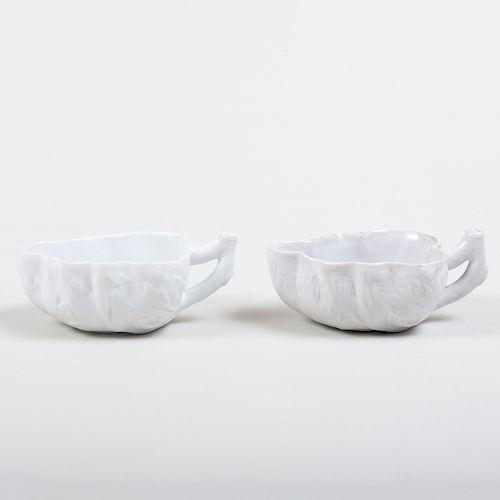 Pair of Italian Porcelain White Glazed Leaf Molded Butter Boats