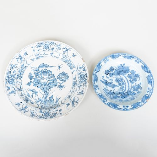Delft Plate with Lotus together with another Smaller Delft Plate