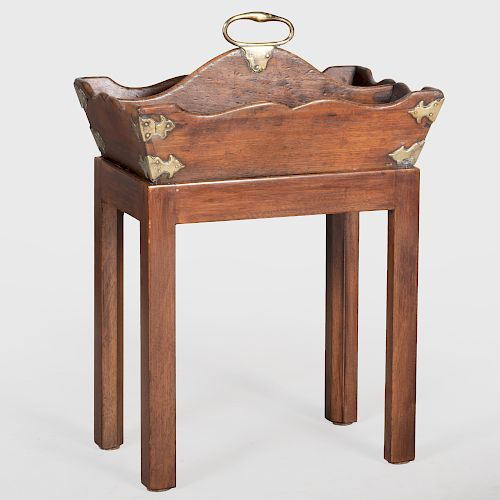 George II Brass Mounted Mahogany Cutlery Box on Later Stand
