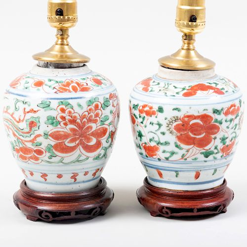 Pair of Chinese Porcelain Wucai Style Jars, Mounted as Lamps