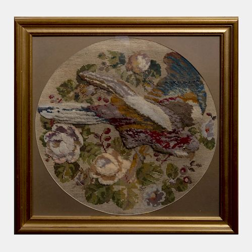Victorian Woolwork Picture of a Parrot
