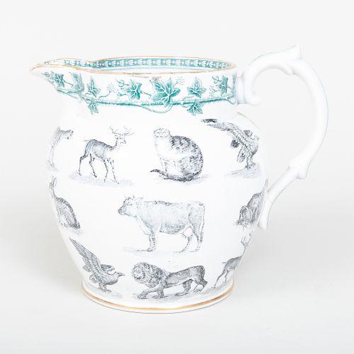 Staffordshire Transfer Printed Pottery Jug