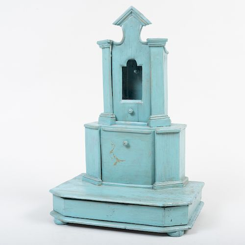 Victorian Blue Painted Watch Hutch