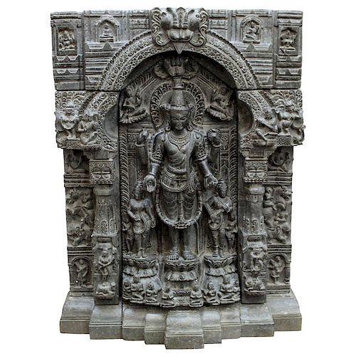Indian Pala-type 4-Arm Vishnu Black Basalt Stele