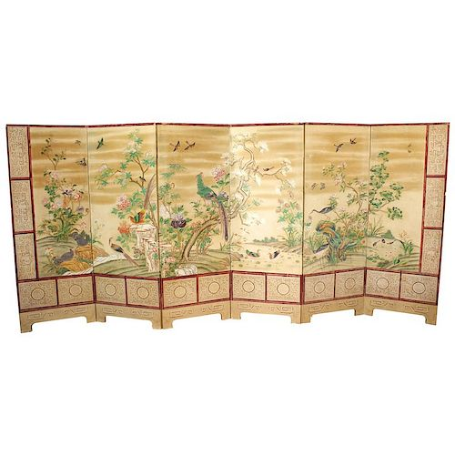 Antique Chinese Export Wallpaper Screen