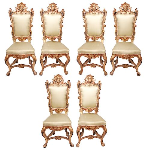 Carved & Gilt Rococo Style Chairs Set of 6