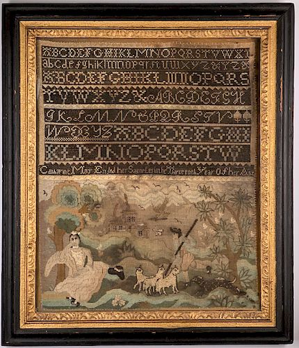 American Needlework Sampler, Catherine May, 1770