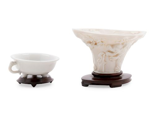 Two Blanc-de-Chine Porcelain Articles Larger: height 2 1/4 in., 6 cm.