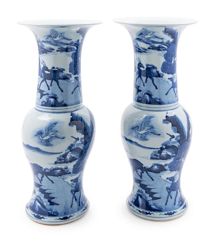A Pair of Blue and White Porcelain Yenyen Vases Height 18 1/2 in., 47 cm.