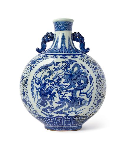 A Large Blue and White Porcelain  Dragon and Phoenix  Moon Flask Height 18 x 13 1/2 in., 45 x 34 cm.