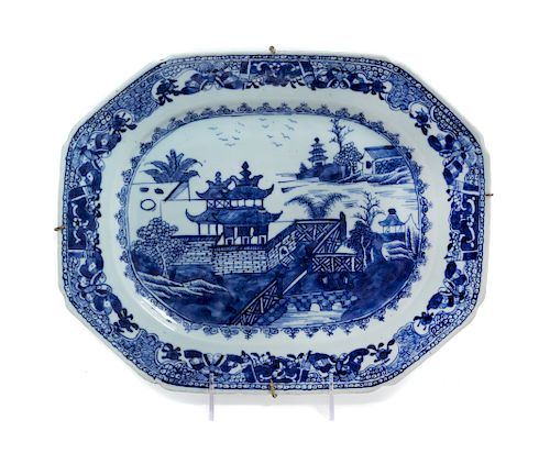 A Chinese Export Canton Blue and White Porcelain Soup Tureen Stand Length 13 1/4 in., 34 cm.