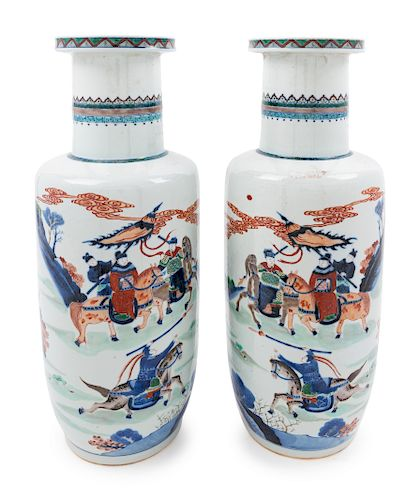 A Pair of Underglazed Blue and Wucai Porcelain Rouleau Vases Height 19 1/2 in., 50 cm.