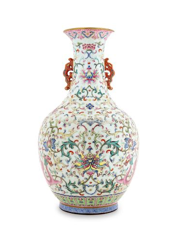 A Famille Rose Porcelain Double Handled Vase Height 12 in., 30 cm.