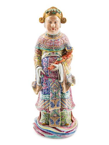 A Large Famille Rose Porcelain Figure of a Daoist Immortal Height 19 1/2 in., 50 cm.