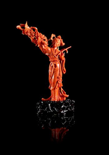 A Red Coral Figure of a Lady Height 6 in., 15 cm.
