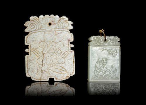 Two Jade Rectangular Pendants Widest: width 2 1/2 in., 6 cm.