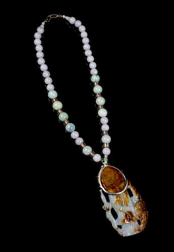 A Jadeite Beaded Necklace Length 19 1/4 in., 49 cm.