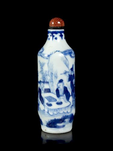 A Blue and White Porcelain Snuff Bottle Height 3 1/4 in., 8 cm.