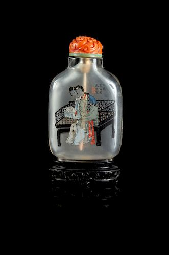 An Inside Painted Rock Crystal Snuff Bottle Height 2 3/4 in., 7 cm.
