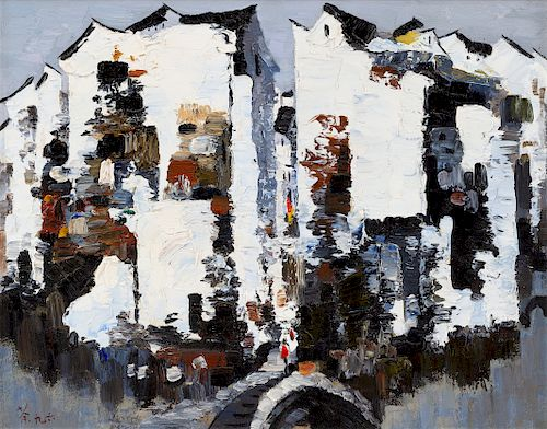 Wu Guanzhong Image: length 19 3/4 x 15 7/8 in., 40 x 50 cm.