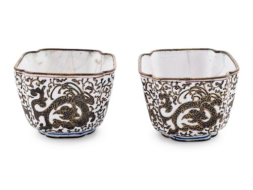 A Pair of Canton Enamel on Copper Square Wine Cups Each: length 1 3/4 x height 1 1/4 in., 4 x 3 cm.