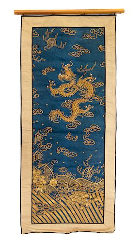 Three Embroidered Silk 'Dragon' Panels Largest: height 36 1.2 in., 93 cm.