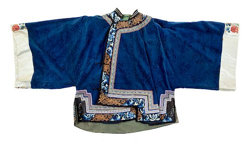 A Blue Ground Silk and Velvet Lady's Jacket Length 29 1/2 in., 75 cm.