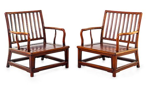 A Pair of Huali Wood Spindleback Armchairs Height 33 in., 84 cm.