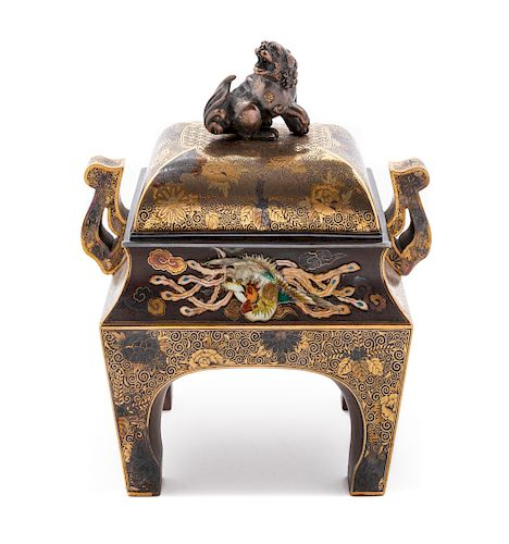 A Japanese Inlaid Mixed-Metal Incense Burner, Koro Height 5 3/4 x length 5 1/2 x width 3 1/2 in., 14 x 15 x 9 cm.