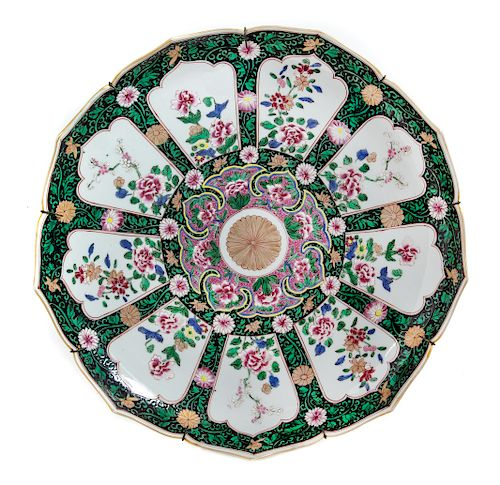 A Japanese Polychrome Enameled Porcelain Flori-Form Plate Diam 15 3/4 in., 40 cm.