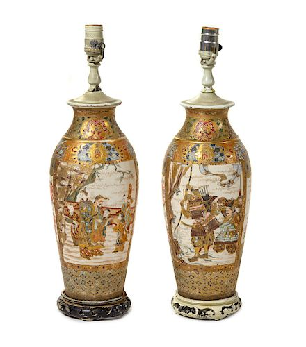 A Pair of Japanese Satsuma Vases Each: height 14 in., 36 cm.
