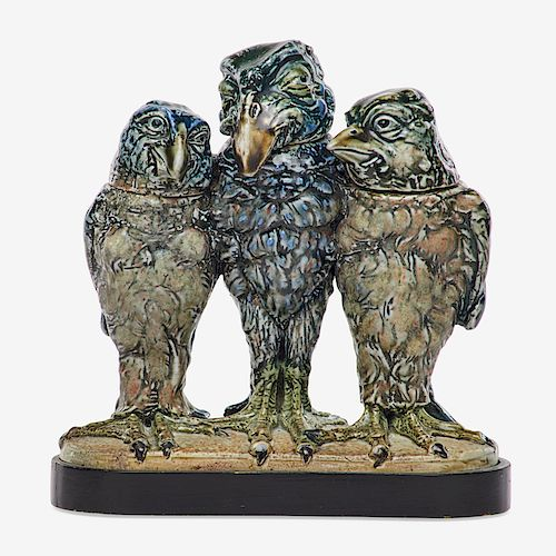 MARTIN BROTHERS Triple bird tobacco jar