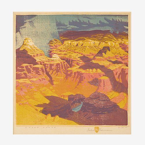 GUSTAVE BAUMANN Fine color woodblock print