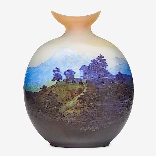 GALLE Exceptional large scenic vase