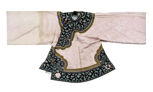 A Light-Pink Ground Embroidered Silk Lady's Robe Collar to hem: 38 in., 97 cm.