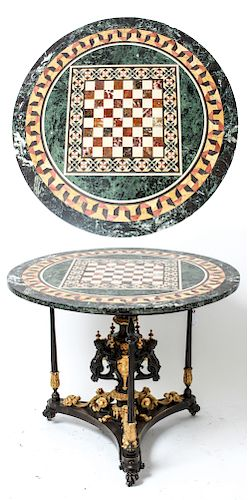 Neoclassical-Style Pietra Dura Marble Games Table