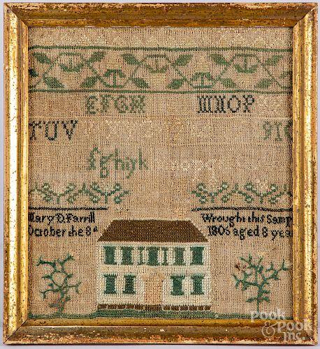 Small silk on linen house sampler