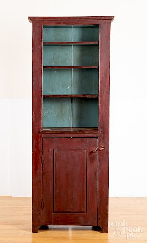New England painted pine one-piece cupboard