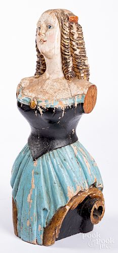 Contemporary carved and painted ships figurehead