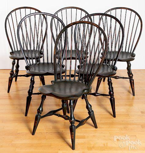 Assembled set of twelve D.R. Dimes Windsor chairs