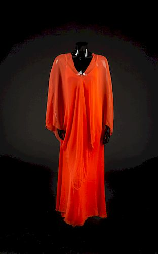 Dress and Poncho, 1970s. Dress designed by Edith Head and made by Western Costume Company in Los Angeles.