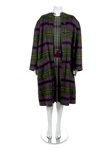 An Adele Simpson Purple Tartan Wool Coat, Dress, Belt, Scarf,
