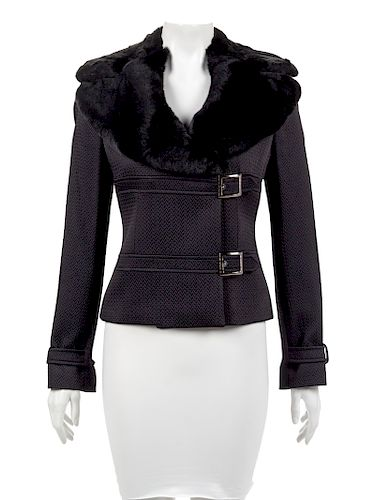 Armani Collezioni Jacket with Fur Trimmed Lapel, 2000's