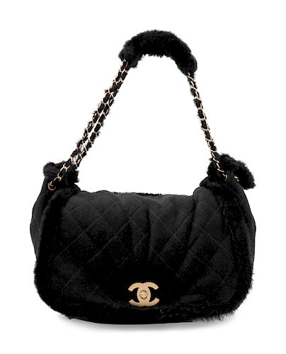 Chanel Black Suede and Fur Bag, 1990-2000s