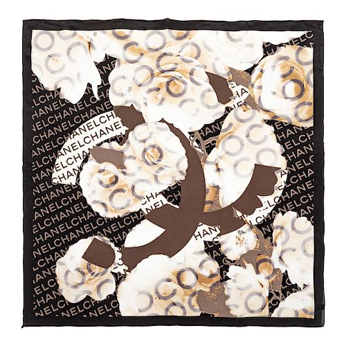 Chanel Cream, Black, Taupe Rose Scarf,