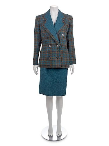 Givenchy Blue Check Wool Skirt Suit, 1970's