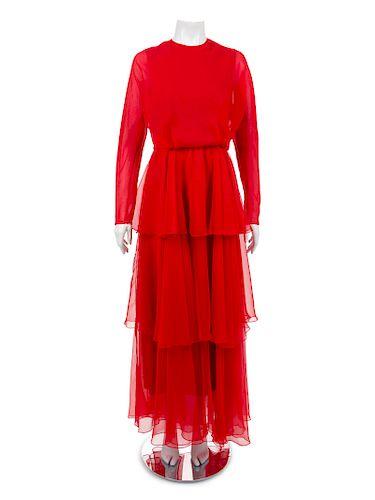 Two Evening Dresses: One Oscar de la Renta and One Joan Leslie by Kasper, 1970-90s